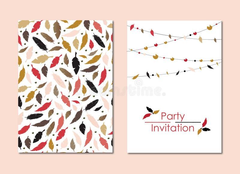 Ein Satz Grußkarten mit bunten Federn, einer Girlande und einem hellen Emblem Für Einladungen Glückwünsche vektor abbildung