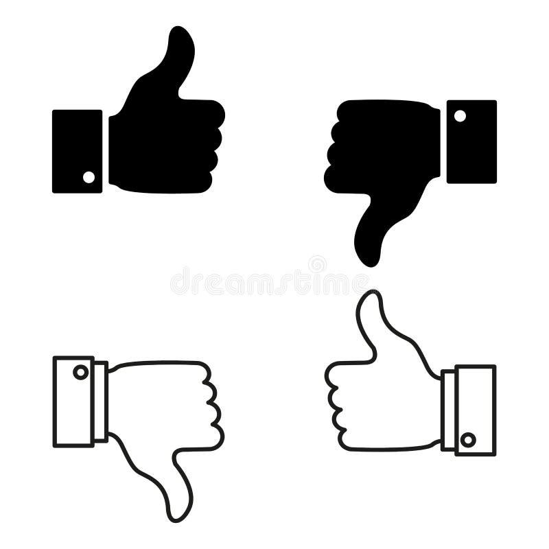 Ein Satz gute oder schlechte Nachrichten, mögen oder lehnen Ikonen ab vektor abbildung