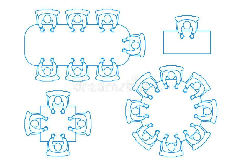 Ein Satz Ikonen eine Sitzung von Geschäftsmännern an einem Tisch die Draufsicht stock abbildung