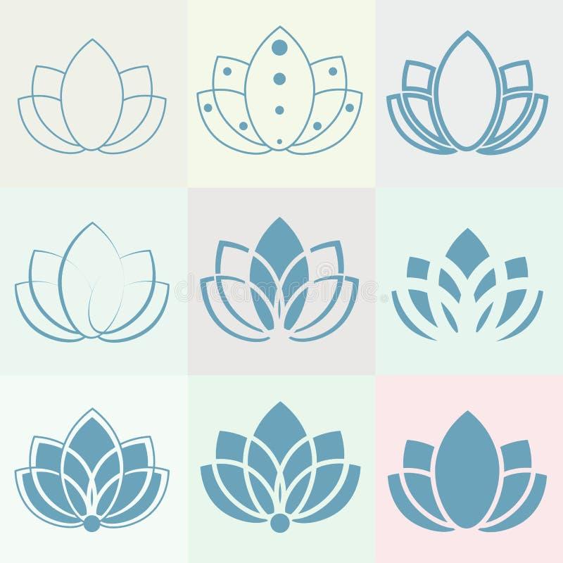 Ein Satz Ikonen: Schattenbild von Lotos für Yogastudio, -badekurort und -eignung vektor abbildung