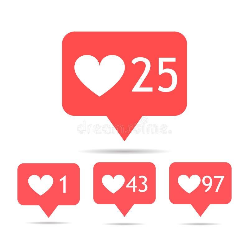 Ein Satz Ikonengegenmitteilungen instagram nachfolger Ikonensatz wie 1, 25, 43, insta 97 Symbol lokalisiert auf Weiß Ein Bündel L stock abbildung
