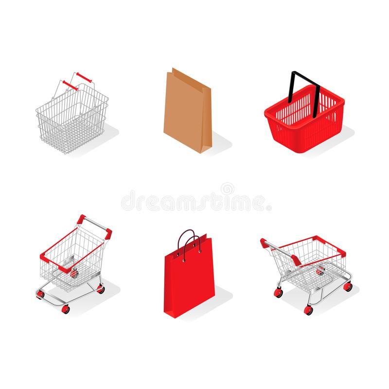 Ein Satz Körbe von einem Supermarkt stock abbildung