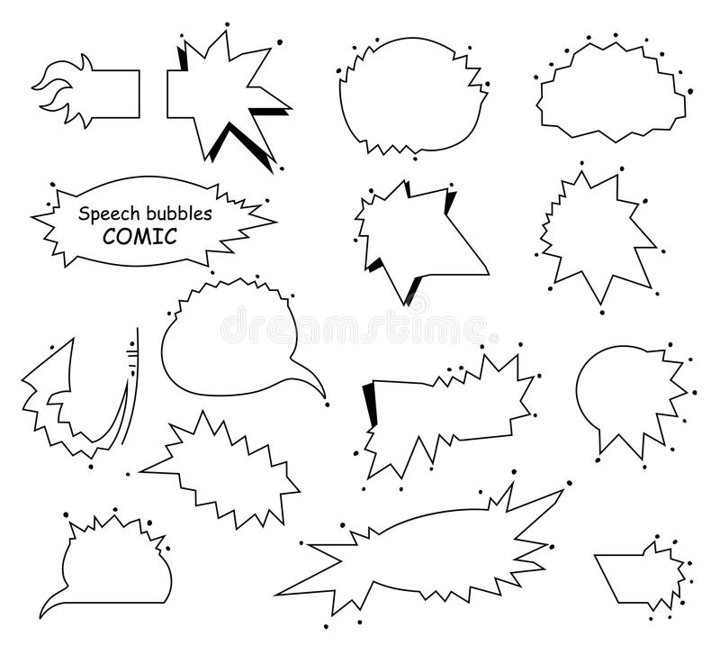 Ein Satz komische leere Blasen und Elemente Leere Spracheblasen, Pop-Arten-Rahmendesign Vektor stock abbildung