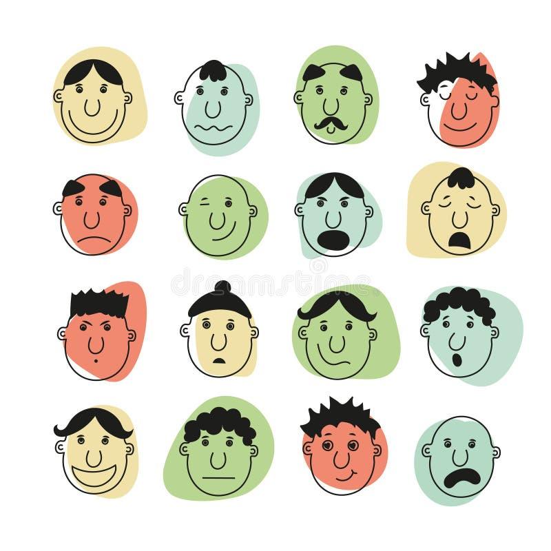 Ein Satz menschliche Gesichter mit Gefühlen lizenzfreie abbildung