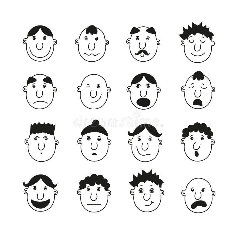 Ein Satz menschliche Gesichter mit Gefühlen stockbild