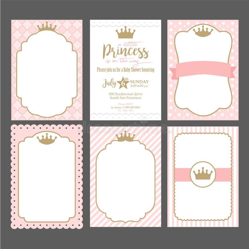 Ein Satz nette rosa Schablonen für Einladungen Weinlesegoldrahmen mit Krone Eine kleine Prinzessinpartei lizenzfreie abbildung