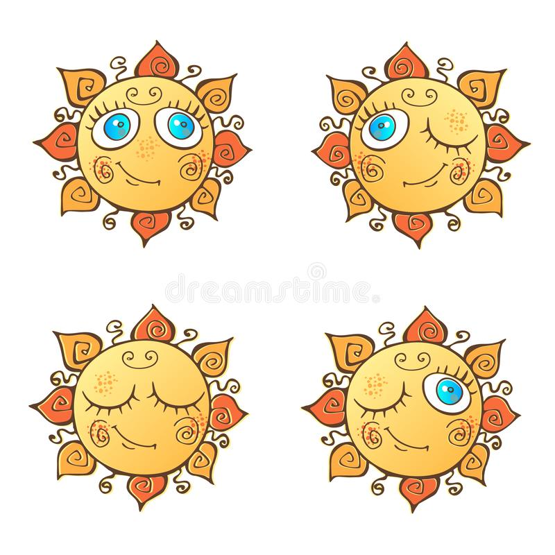Ein Satz nette Sonnen in der Karikaturart Auch im corel abgehobenen Betrag stock abbildung