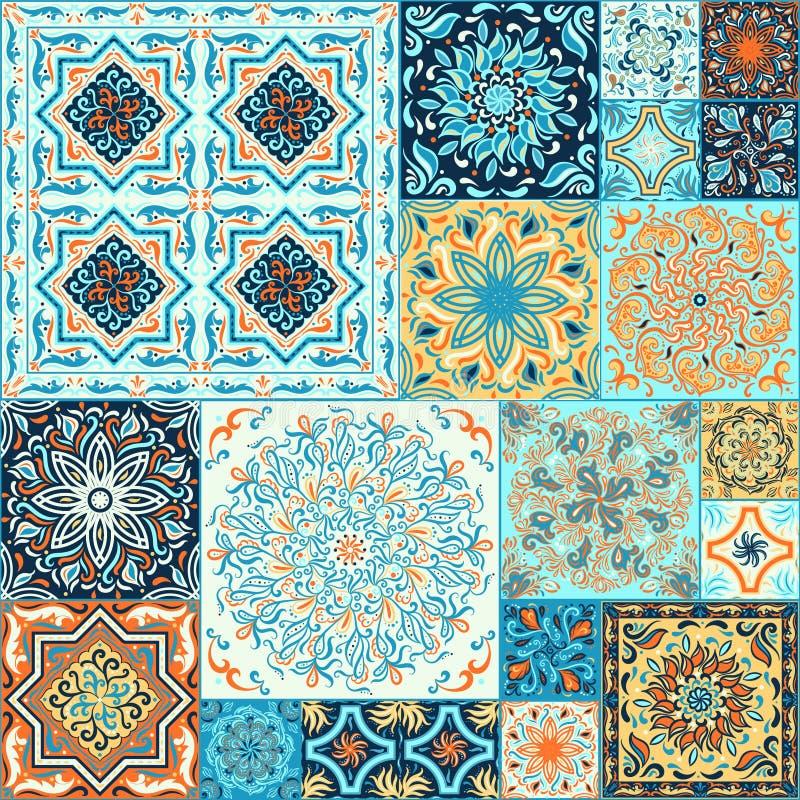 Ein Satz quadratische Muster in der ethnischen Art stock abbildung