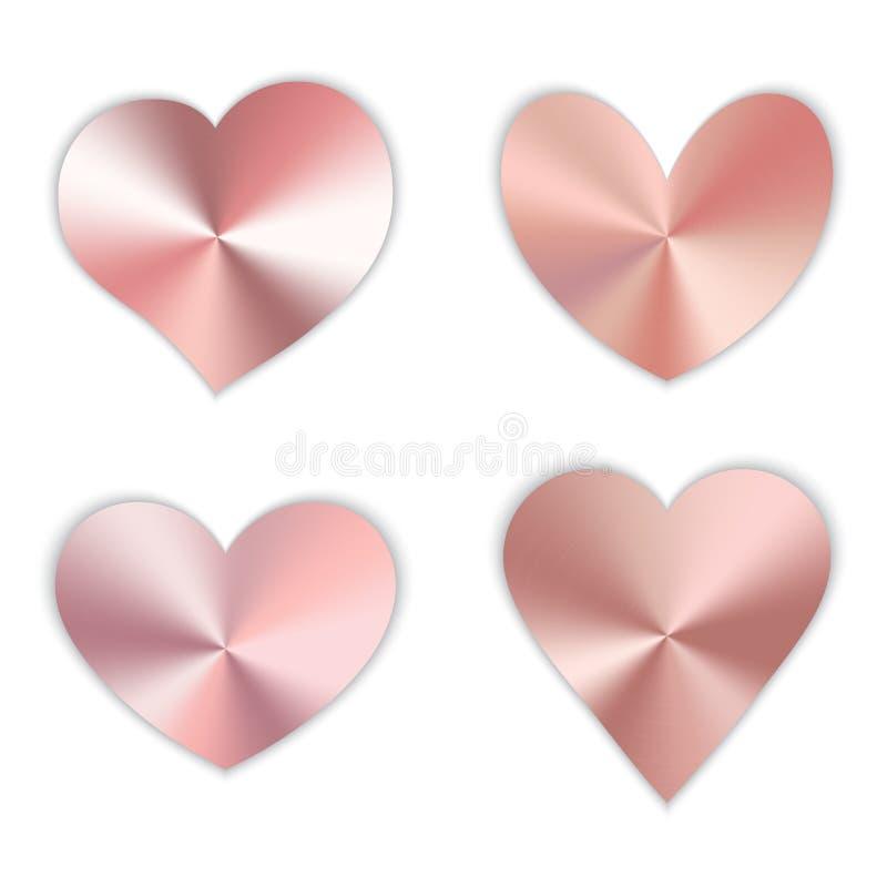 Ein Satz rosa Herzen lizenzfreie abbildung