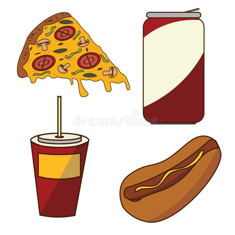 Ein Satz Schnellimbiß Pizza, Kolabaum, Getränk und Hotdog vektor abbildung
