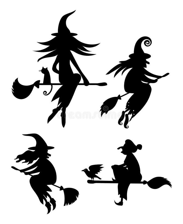 Ein Satz schwarze Schattenbilder von den Hexen, die auf einen Besenstiel fliegen lizenzfreie abbildung