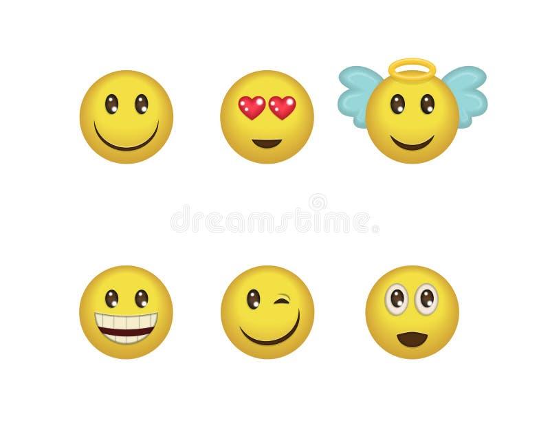 Ein Satz Spaß positive Emoticonausdrücke Lächeln, Wink, Engel, in der Liebe, die Lachensmiley überrascht eingeschlossen vektor abbildung