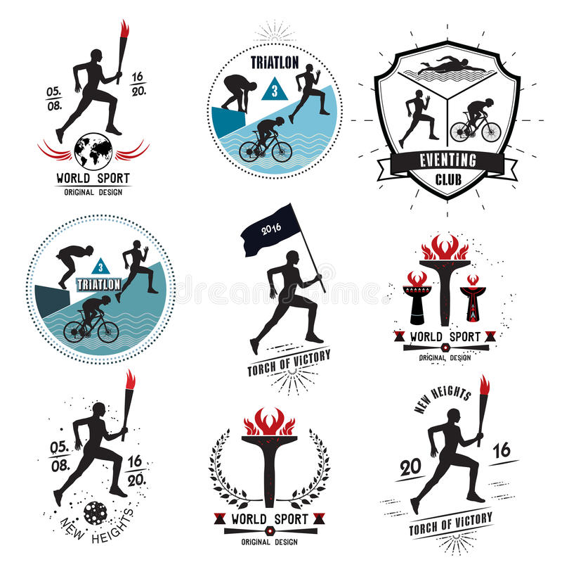 Ein Satz Sportlogos, -embleme und -Gestaltungselemente stock abbildung