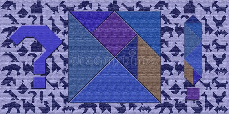 Ein Satz Stücke für den Puzzlespiel Tangram, Schattenbilder, Frage stock abbildung