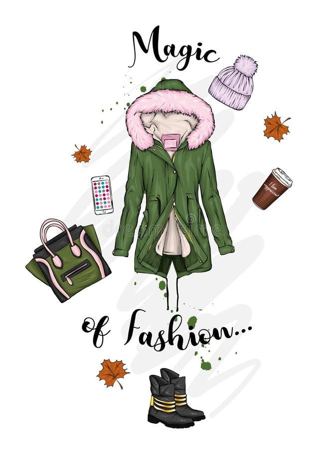 Ein Satz stilvolle Frauen ` s Kleidung und Zubehör Jacke, Mantel, Schuhe, Tasche, Schuhe, Hut, Glas Kaffee und Parfüm Herbst stock abbildung