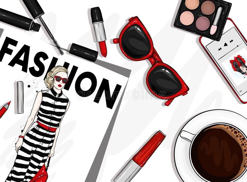 Ein Satz stilvolles Zubehör und Kosmetik Modezeitschrift, Gläser, Lippenstift, Schatten, Wimperntusche, Smartphone und ein Tasse  stock abbildung