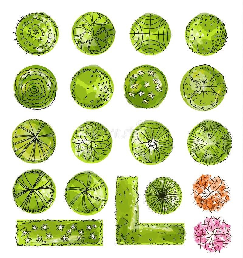 Ein Satz Treetopsymbole, für Architektur- oder Landschaftsdesign vektor abbildung