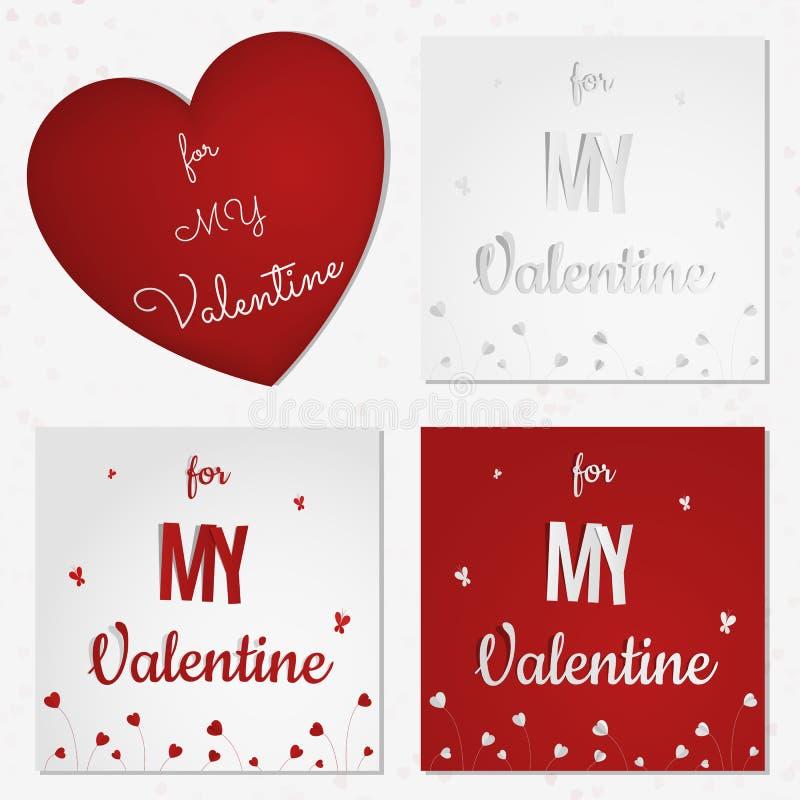 Ein Satz Valentinstagzusammenfassungskarten oder -hintergrund mit geschnittenen Papierherzen, Blumen, Schmetterling vektor abbildung