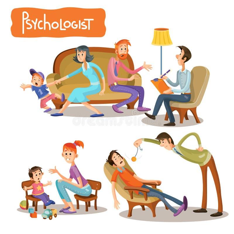 Ein Satz Vektorkarikaturillustrationen, die der Patient mit einem Psychotherapeuten spricht vektor abbildung