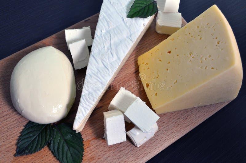 Ein Satz verschiedene Arten des Käses - Mozzarella, Feta, Briekäse, niederländisch stockfotos
