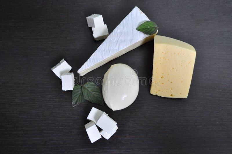 Ein Satz verschiedene Arten des Käses - Mozzarella, Feta, Briekäse, niederländisch lizenzfreie stockfotografie