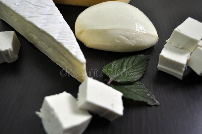 Ein Satz verschiedene Arten des Käses - Mozzarella, Feta, Briekäse, niederländisch lizenzfreie stockfotos