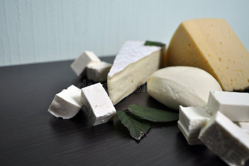 Ein Satz verschiedene Arten des Käses - Mozzarella, Feta, Briekäse, niederländisch lizenzfreies stockfoto