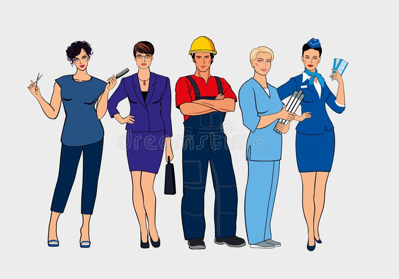 Ein Satz verschiedene Berufe Friseur-, Geschäftsfrau-, Erbauer-, Krankenschwester- und Stewardessstand zusammen stock abbildung