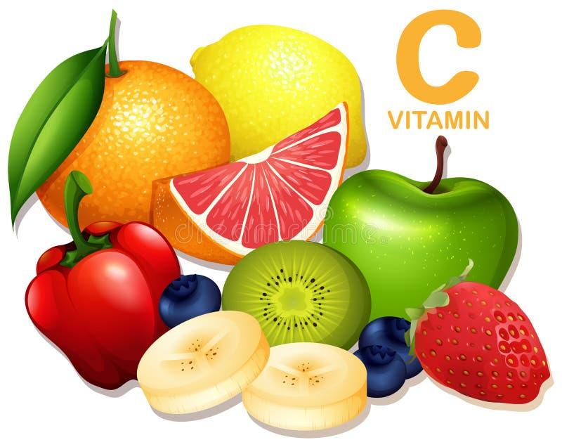 Ein Satz Vitamin- Cfrucht lizenzfreie abbildung