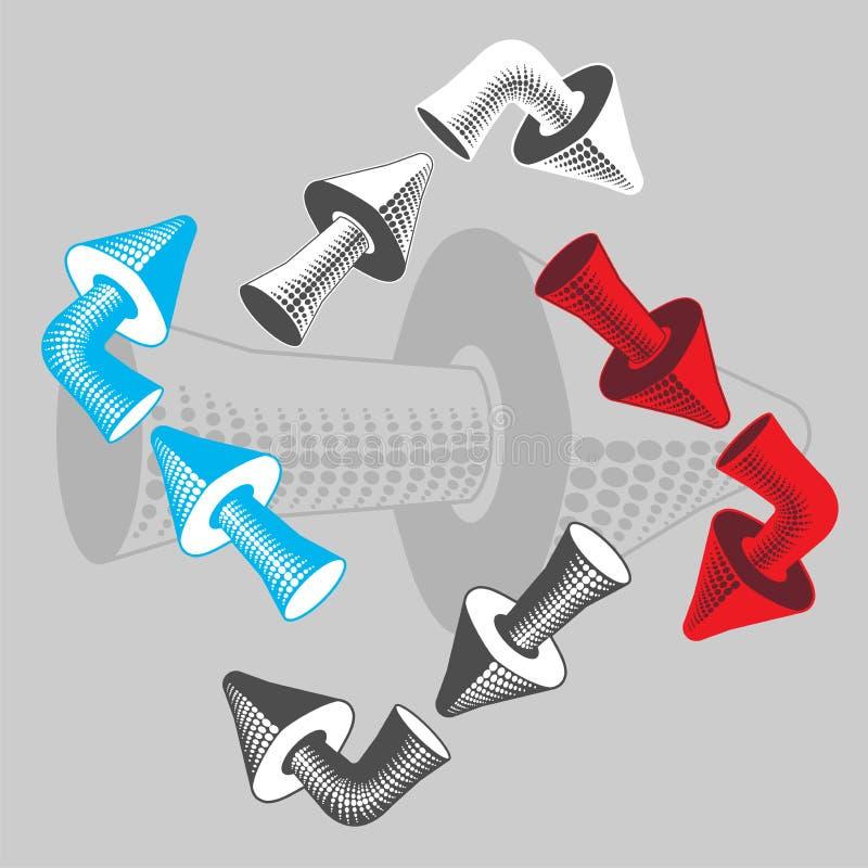 Ein Satz volumetrische Pfeile für die Kennzeichnung von Bewegungsrichtungen lizenzfreies stockbild