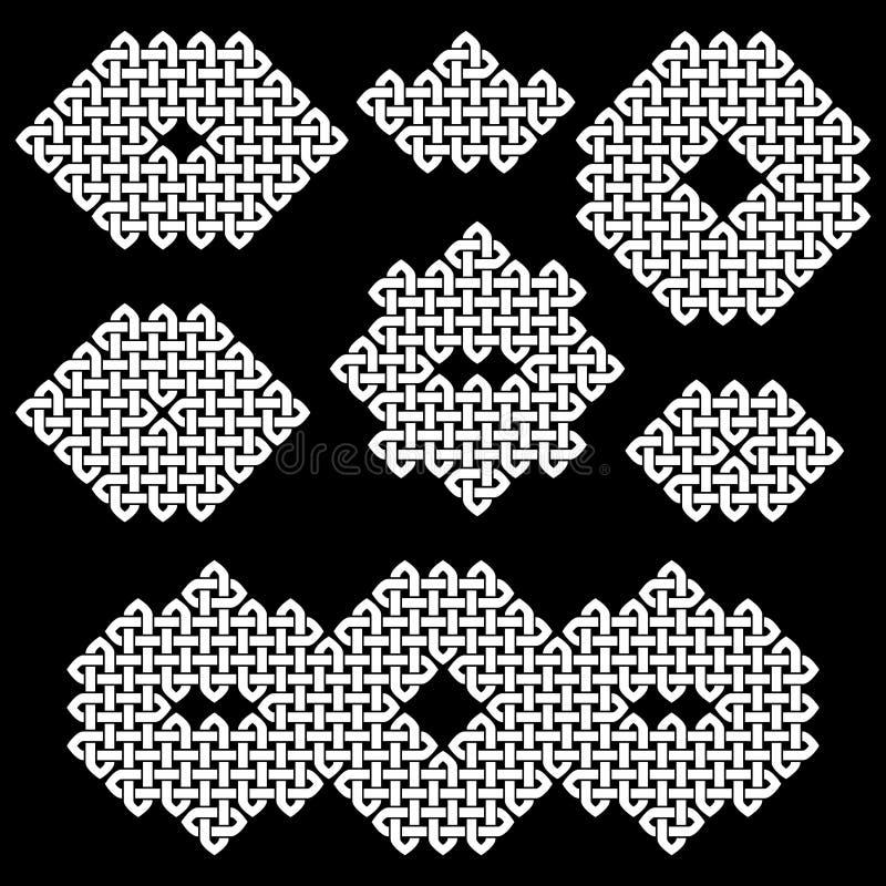 Ein Satz von 7 asiatisch (Chinese, koreanisches oder japanisches) oder von keltischen Artknoten lizenzfreie abbildung