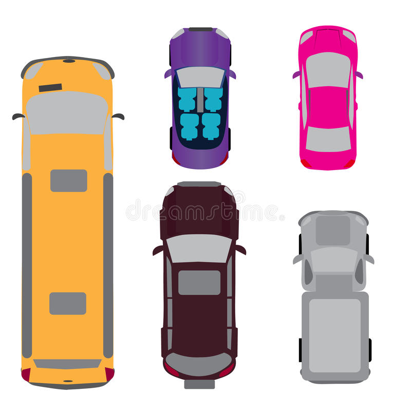 Ein Satz von fünf Autos Coupé, Kabriolett, SUV, Passagiervan, Mehrzweckfahrzeug Ansicht von oben Abbildung stock abbildung