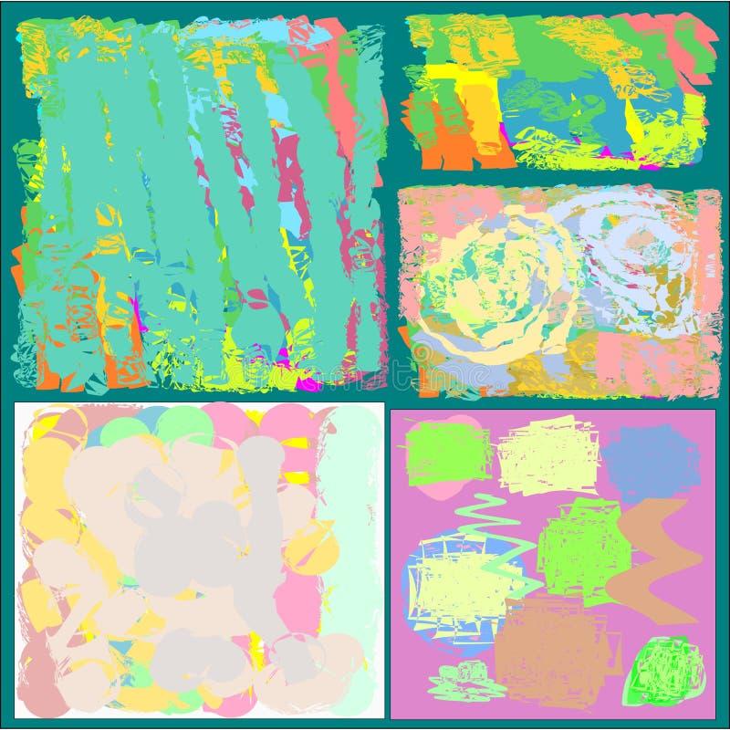 Ein Satz von fünf kreativen abstrakten Grußallgemeinhinkarten in den grünen und blauen und gelben und rosa und braunen Tönen vektor abbildung