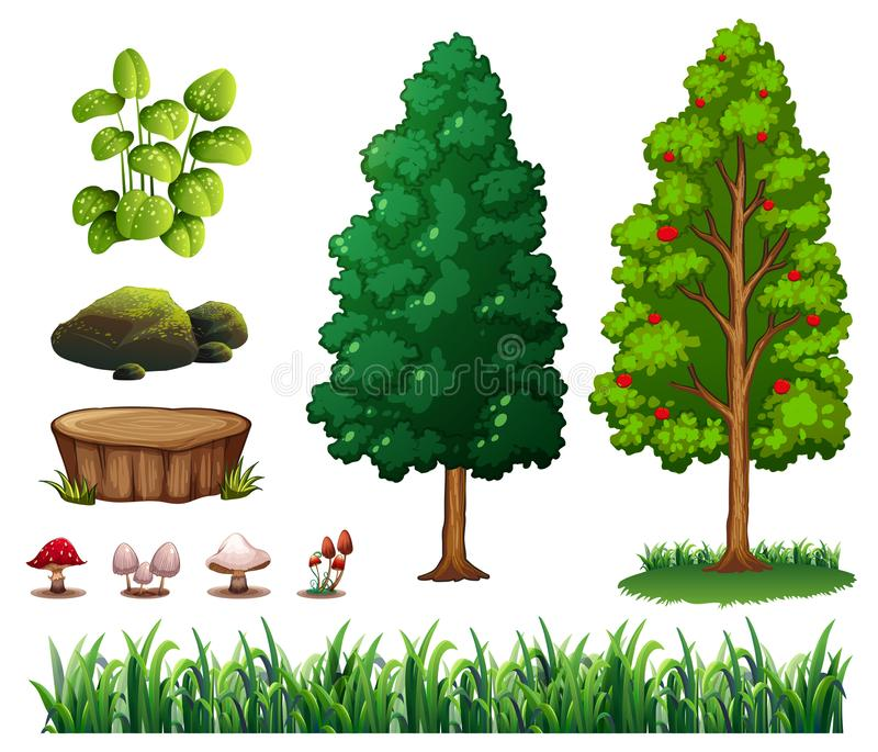 Ein Satz von Forest Element stock abbildung