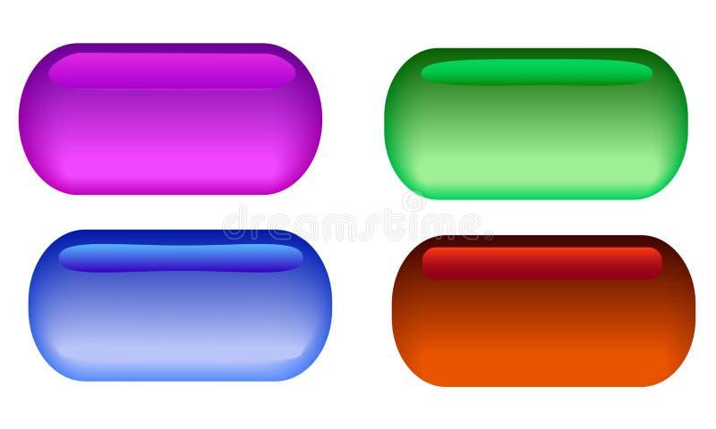 Ein Satz von 4 Glasknöpfen mit unterschiedlichem grellem Glanz vektor abbildung