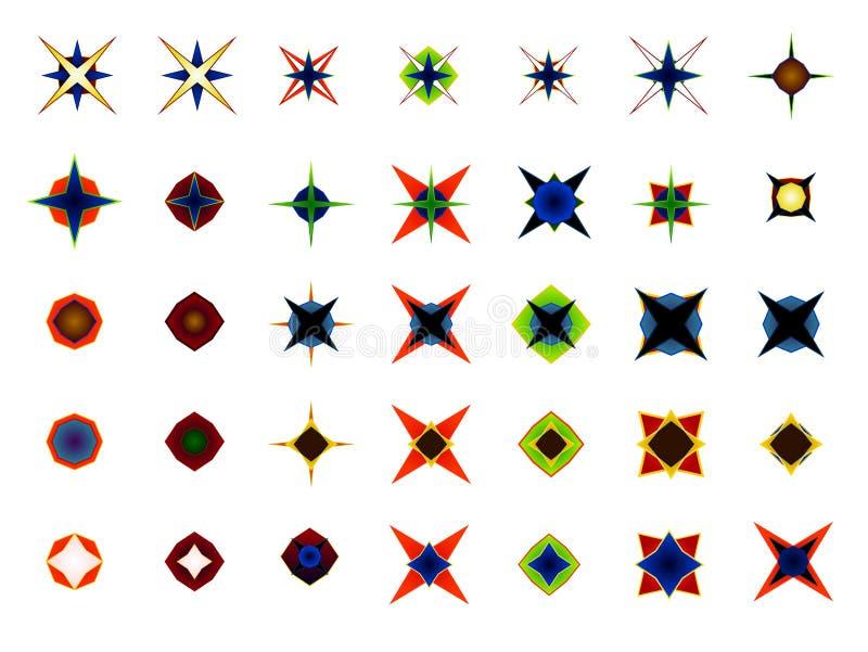 Ein Satz von 35 Logos und von Ikonen stock abbildung