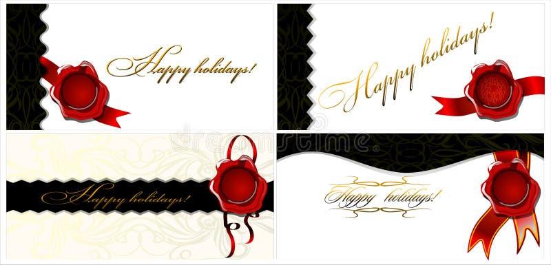 Ein Satz von vier Karten frohe Feiertage! 02 (Vektor) lizenzfreie abbildung