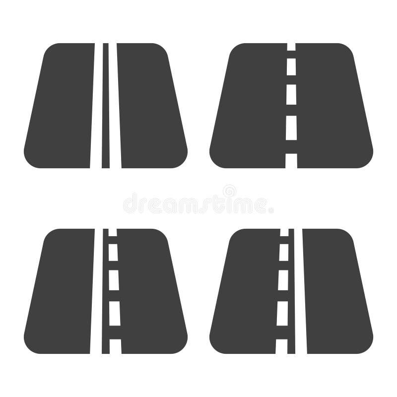 Ein Satz von vier Straßenikonen mit Wegmarkierungen Vektor auf weißem Hintergrund lizenzfreie abbildung