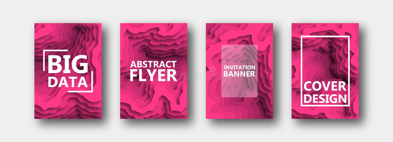 Ein Satz von vier Wahlen für Fahnen, Flieger, Broschüren, Karten, Plakate für Ihren Entwurf, in der rosa Farbe vektor abbildung