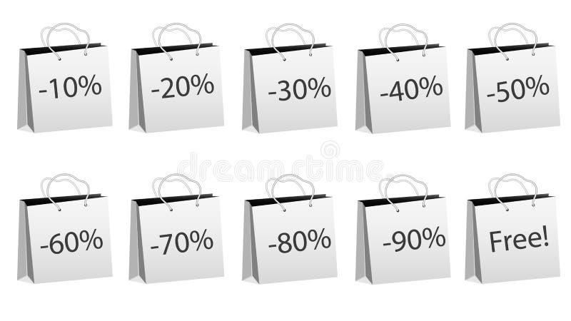 Ein Satz von zehn grauen realistischen Massenpapiertüten für den Einkauf mit Seilgriffen und Rabatten von 10, 20, 30, 40, 50, 60, stock abbildung