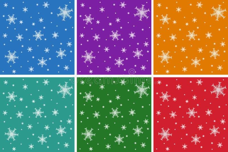 Ein Satz Weihnachtsnahtlose Muster mit Schneeflocken Auf farbigen Hintergründen vektor abbildung