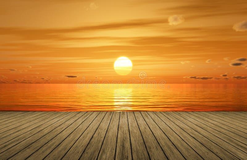 ein schöner goldener Sonnenuntergang über dem Ozean und einer hölzernen Anlegestelle stock abbildung
