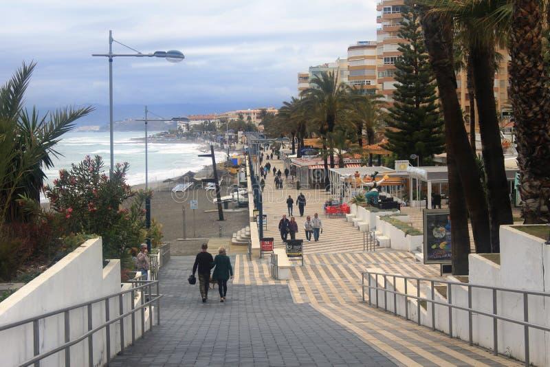 Ein schöner Platz an der Küste in Torrox-Costa, Spanien stockfoto