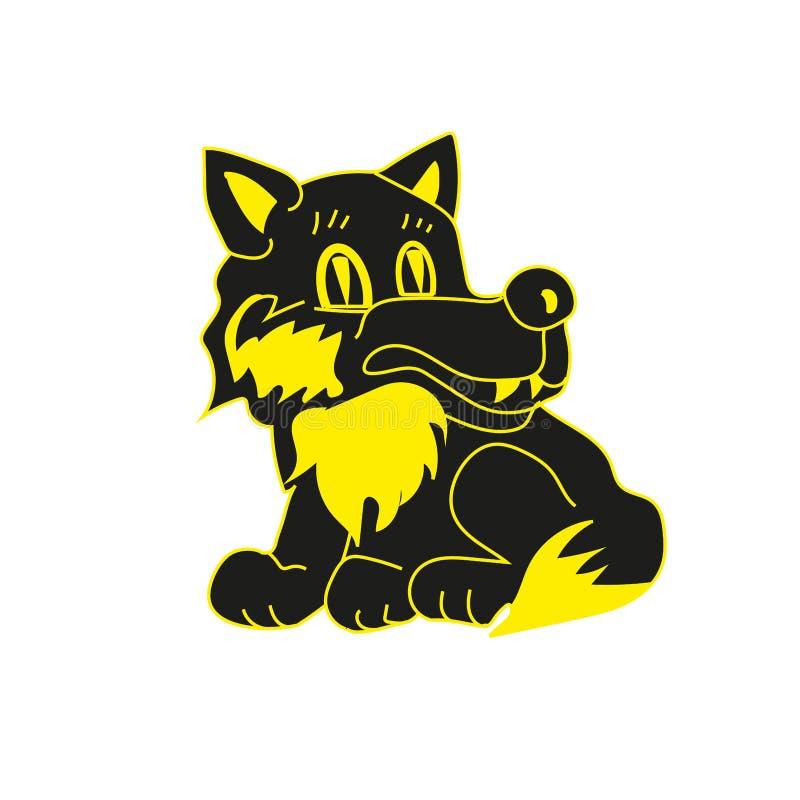 Ein schöner schwarzer Wolf sitzt und lächelt vektor abbildung