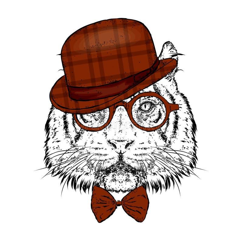 Ein schöner Tiger mit einem Hut und Gläsern Auch im corel abgehobenen Betrag Wildes Tier, Raub lizenzfreie abbildung