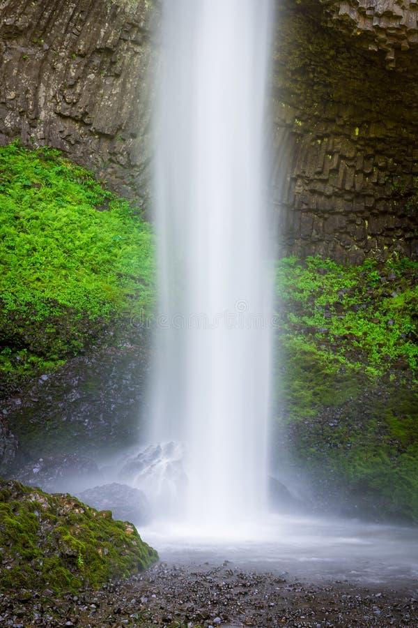 Ein schöner Wasserfall, der in ein Pool unter einer Klippe bedeckt im üppigen grünen Moos und in der Vegetation spritzt stockbild