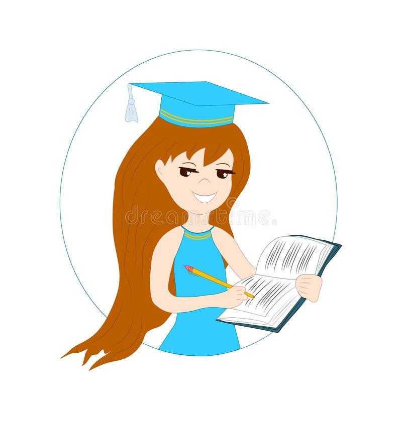 Ein schönes Mädchen, ein Schulmädchen schreibt mit einem Stift in ein Notizbuch t lizenzfreie abbildung