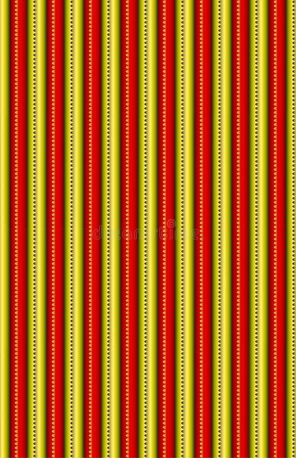 Ein schönes Rot und ein Goldvertikales metallisches Muster stockbild