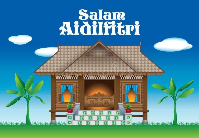 Ein schönes traditionelles hölzernes malaysisches Artdorfhaus stock abbildung