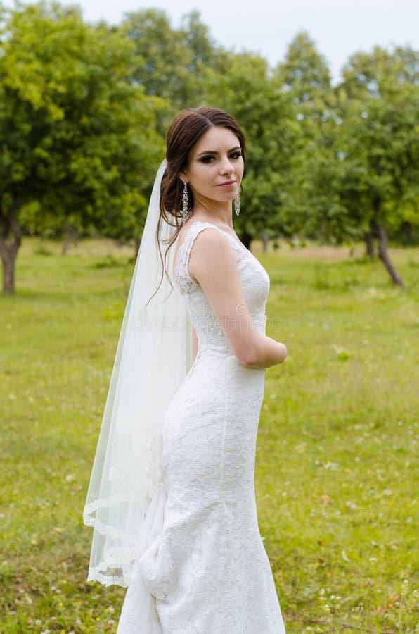 Ein schönes verheiratetes Mädchen im Hochzeitskleid, werfend für ein Fotoschießen in einem belarussischen Dorf auf Grüner Hinterg lizenzfreies stockfoto